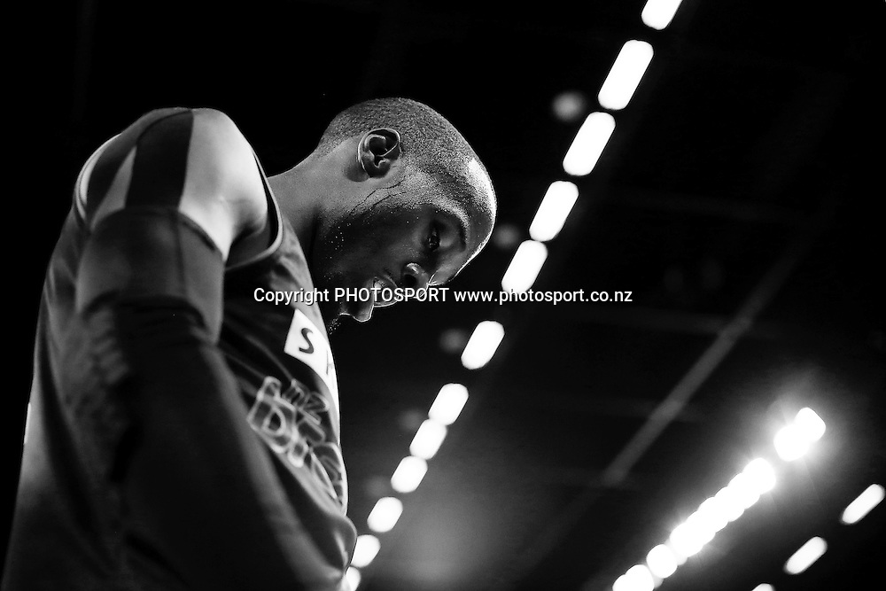 Cedric Jackson of the Breakers takes a breather. 2014/15 ANBL, SkyCity Breakers vs Melbourne United, Vector Arena, Auckland, New Zealand. Friday 21 November 2014. Photo: Anthony Au-Yeung / photosport.co.nz