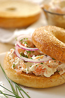 Lox and bagle with cream cheese and onion rings, Close up, prep bow on back