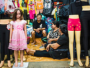 12 JANUARY 2017 - BANGKOK, THAILAND: A clothing shop in Bo Bae Market. Bo Bae Market is a sprawling wholesale clothing market in Bangkok. There are reportedly more than 1,200 stalls selling clothes made in Thailand and neighboring countries. Bangkok officials have threatened to shut down parts of Bo Bae market, but so far it has escaped the fate of the other street markets that have been shut down.       PHOTO BY JACK KURTZ