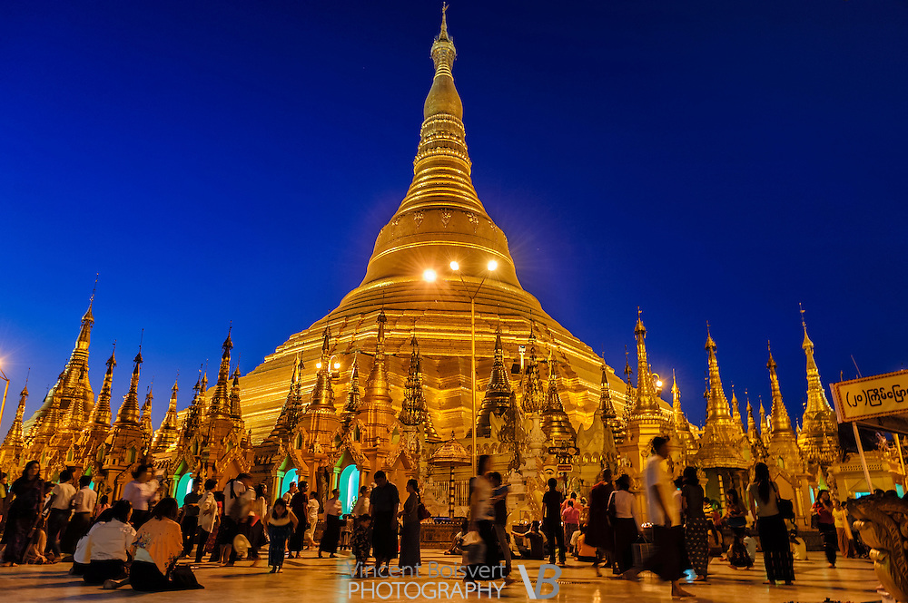 A large view of the Shwedagon Pagoda during the blue hour, yangon, myanmar