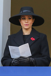 © Licensed to London News Pictures. 10/11/2019. London, UK. Meghan, Duchess of Sussex attends the Remembrance Sunday ceremony at the Cenotaph memorial in Whitehall, central London. Remembrance Sunday is held each year to commemorate the service men and women who fought in past military conflicts. Photo credit: Dinendra Haria/LNP