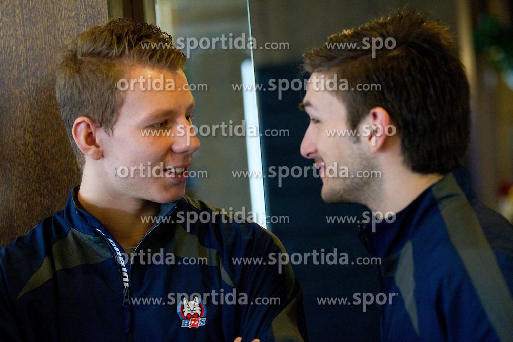 Miha Stebih and Ziga Pesut of Slovenian U20 ice-hockey team at press conference, on December 08, 2011 in Hotel Krim, Bled, Slovenia. (Photo By Vid Ponikvar / Sportida.com)