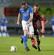 06/10/2017 - St Johnstone v Dundee - Dave Mackay testimonial at McDiarmid Park, Perth, Picture by David Young - Dundee's Matty Hanvey shuts down St Johnstone's Fraser Wright