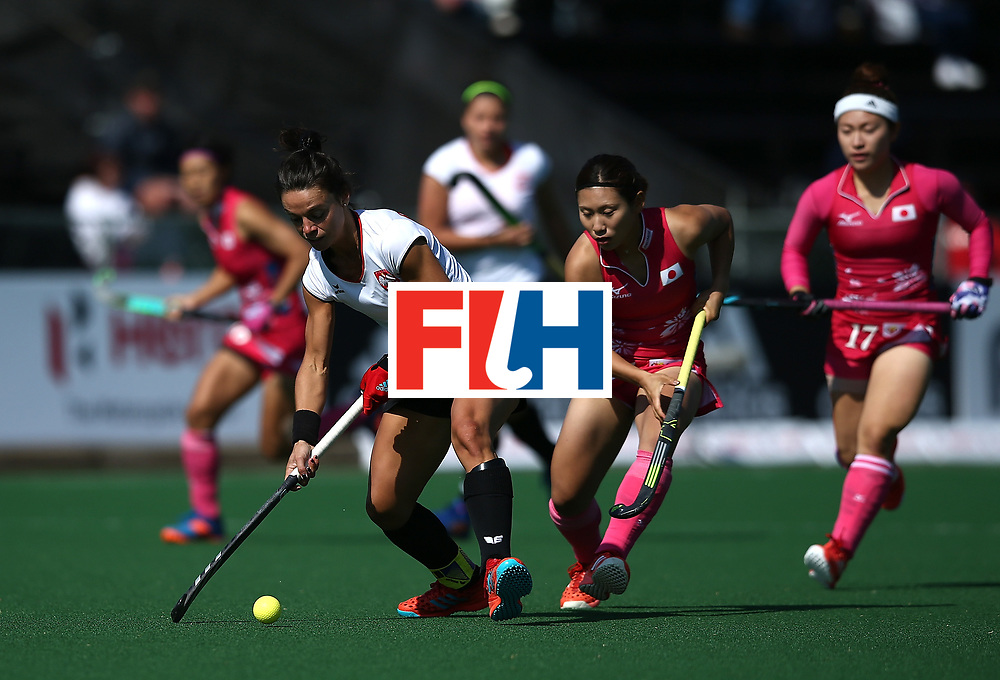 JOHANNESBURG, SOUTH AFRICA - JULY 14:  Marlena Rybacha of Poland and Yuri Nagai of Japan battle for possession during day 4 of the FIH Hockey World League Semi Finals Pool B match between Poland and Japan at Wits University on July 14, 2017 in Johannesburg, South Africa.  (Photo by Jan Kruger/Getty Images for FIH)