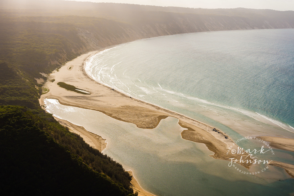 Aerial photograph of Double Island Point if foreground, looking towards Rainbow Beach, Great Sandy National Park, Sunshine Coast, Queensland, Australia
