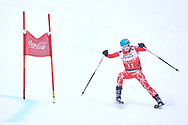 """Schladming, Austria - 2017 March 19: Stefanie Heinzle from Austria (31) competes in Alpine Skiing Competition while Special Olympics World Winter Games Austria 2017 on the """"Sepp-Walcher-Downhill""""<br /> (Slope 32) near the """"Tauernalm"""" in Rohrmoos on March 19, 2017 in Schladming, Austria.<br /> <br /> Mandatory credit:<br /> Photo by © Adam Nurkiewicz / Mediasport<br /> <br /> Adam Nurkiewicz declares that he has no rights to the image of people at the photographs of his authorship.<br /> <br /> Picture also available in RAW (NEF) or TIFF format on special request.<br /> <br /> Any editorial, commercial or promotional use requires written permission from the author of image.<br /> <br /> Image can be used in the press when the method of use and the signature does not hurt people on the picture."""