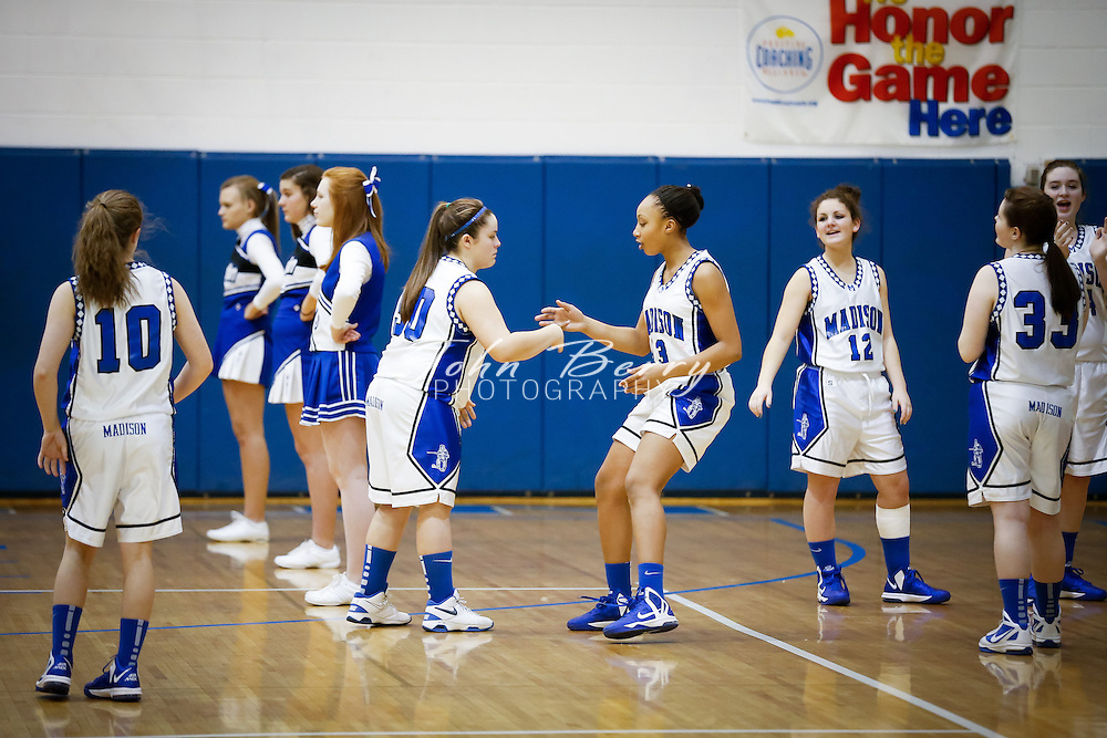 January/11/13:  MCHS JV Girls Basketball vs Clarke Eagles.  Madison wins 40-29.  Brianna Tinsley scored 27 points for Madison.