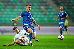 Miha Zajc of Slovenia vs Jason Demetriou of Cyprus during football match between National Teams of Slovenia and Cyprus in Final Tournament of UEFA Nations League 2019, on October 16, 2018 in SRC Stozice, Ljubljana, Slovenia. Photo by  Morgan Kristan / Sportida