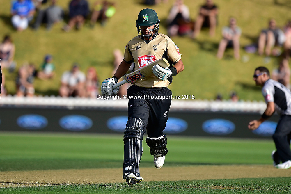 Ross Taylor of the North Island makes a run during the North Island vs South Island cricket match at the Basin Reserve in Wellington on Sunday the 28th of February 2016. Copyright Photo by Marty Melville / www.Photosport.nz