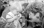 Judging the Baby Show. 1991 Yorkshire Miners Gala. Doncaster.