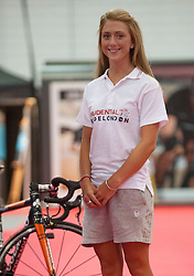 Olympic Gold Medal Team GB cyclist Laura Trott promotes the Prudential RideLondon at the ExCel Centre today, London, United Kingdom  <br /> Friday, 2nd August 2013<br /> Picture by i-Images