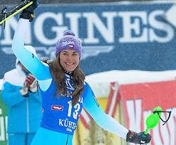 29.12.2014, Hohe Mut, Kühtai, AUT, FIS Ski Weltcup, Kühtai, Slalom, Damen, Siegerehrung, im Bild zweite Sarka Strachova (CZE) // second placed Sarka Strachova of Czech Republic celebrates on Podium during the award ceremony after Ladies Giant Slalom of the Kuehtai FIS Ski Alpine World Cup at the Hohe Mut Course in Kuehtai, Austria on 2014/12/29. EXPA Pictures © 2014, PhotoCredit: EXPA/ Erich Spiess