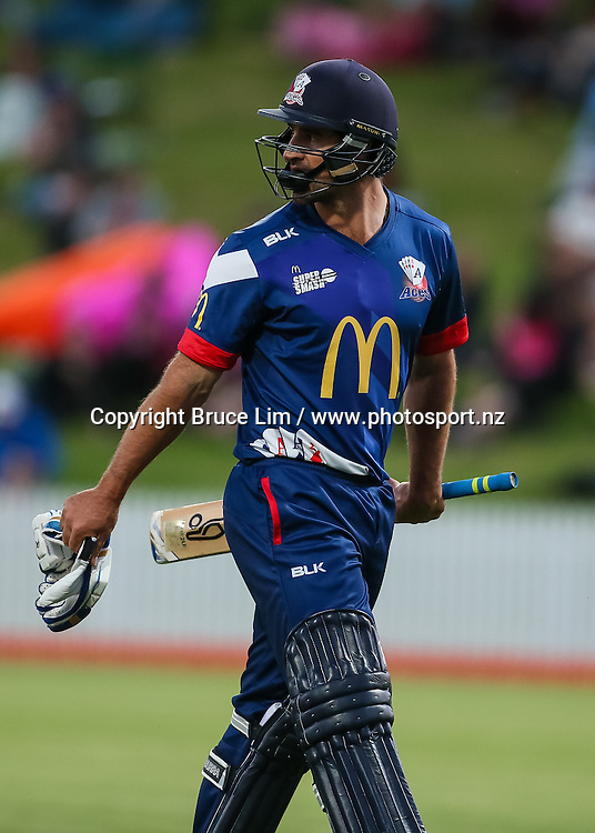 Auckland Aces' Colin de Grandhomme departs during the McDonalds Super Smash T20 cricket match - Knights v Aces played at Seddon Park, Hamilton, New Zealand on Saturday 17 December.<br /> <br /> Copyright photo: Bruce Lim / www.photosport.nz