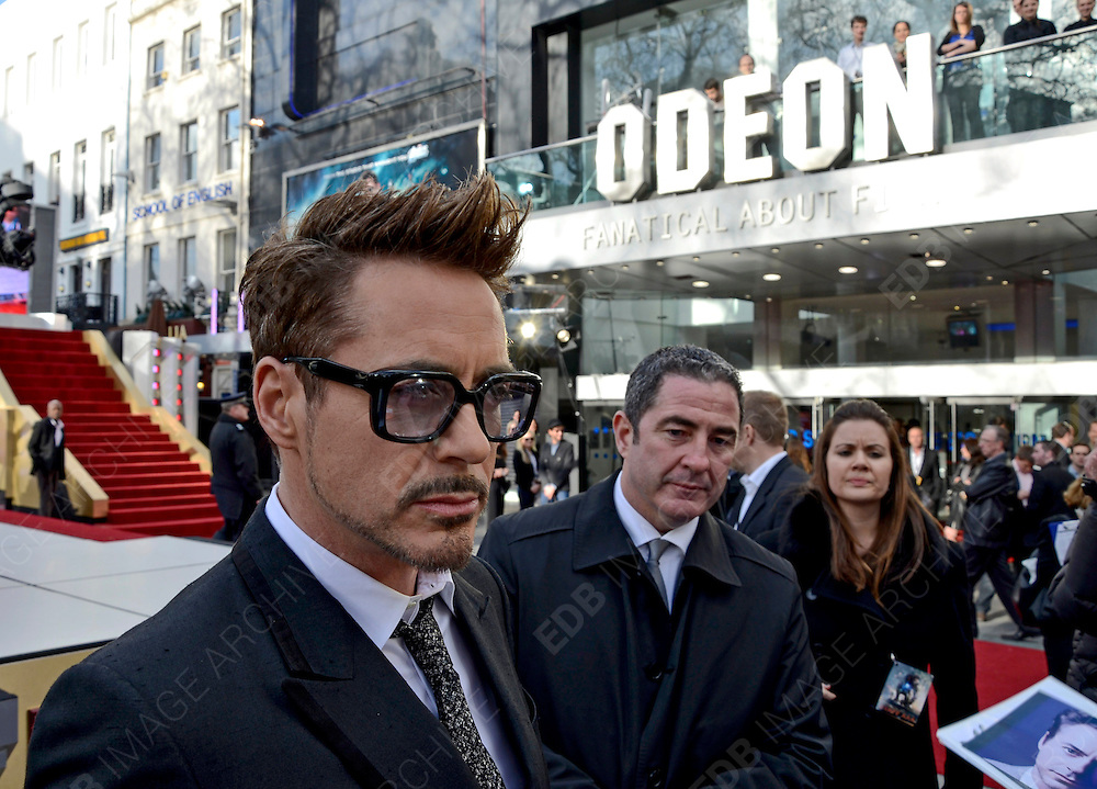 18.APRIL.2013. LONDON<br /> <br /> ROBERT DOWNEY JR ATTENDS A SCREENING OF IRON MAN 3 AT THE ODEON IN LEICESTER SQUARE, LONDON<br /> <br /> BYLINE: EDBIMAGEARCHIVE.CO.UK<br /> <br /> *THIS IMAGE IS STRICTLY FOR UK NEWSPAPERS AND MAGAZINES ONLY*<br /> *FOR WORLD WIDE SALES AND WEB USE PLEASE CONTACT EDBIMAGEARCHIVE - 0208 954 5968*