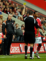 Photo: Alan Crowhurst.<br />Charlton Athletic v Aston Villa. The Barclays Premiership. 30/12/2006. Charlton coach Alan Pardew (L) looks in disgust as one of his players is yellow carded.