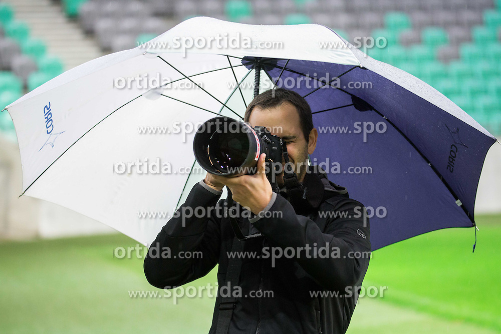 Photographer Nikola Miljkovic during practice session of Slovenian National Football team two days before Euro 2016 Qualifying game between Slovenia and Lithuania, on October 7, 2015 in SRC Stozice, Ljubljana Slovenia. Photo by Vid Ponikvar / Sportida