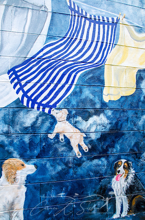 Three playful dogs play with laundry hanging from a clothesline in this whimsical wall mural on the side of a dry cleaners shop in downtown West Point, Mississippi. (Photo by Carmen K. Sisson/Cloudybright)
