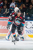 KELOWNA, CANADA - DECEMBER 3: Devante Stephens #21 of Kelowna Rockets skates against the Saskatoon Blades on December 3, 2014 at Prospera Place in Kelowna, British Columbia, Canada.  (Photo by Marissa Baecker/Shoot the Breeze)  *** Local Caption *** Devante Stephens;