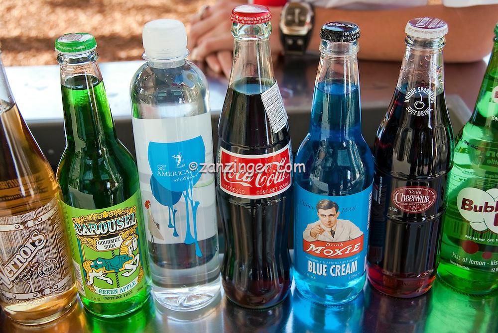 Vintage Soda Bottle Brands, Labels,  Pop and Soft Drinks,1950's, Bubble up, Moxie, Coca-Cola