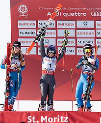 16.02.2017, St. Moritz, SUI, FIS Weltmeisterschaften Ski Alpin, St. Moritz 2017, Riesenslalom, Damen, Siegerpräsentation, im Bild v.l. Mikaela Shiffrin (USA, Damen Riesenslalom Silbermedaille), Tessa Worley (FRA, Damen Riesenslalom Weltmeisterin und Goldmedaille), Sofia Goggia (ITA, Damen Riesenslalom Bronzemedaille) // f.l. ladie's Giant Slalom Silver medalist Mikaela Shiffrin of the USA ladie's Giant Slalom world Champion and Gold medalist Tessa Worley of France ladie's Giant Slalom Bronze medalist Sofia Goggia of Italy during the winner presentation for the ladie's Giant Slalom of the FIS Ski World Championships 2017. St. Moritz, Switzerland on 2017/02/16. EXPA Pictures © 2017, PhotoCredit: EXPA/ Johann Groder