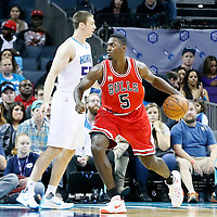 03 November 2015: Chicago Bulls forward Bobby Portis (5) posts up Charlotte Hornets forward Tyler Hansbrough (50) during the Charlotte Hornets  130-105 victory over the Chicago Bulls, at the Time Warner Cable Arena, in Charlotte, North Carolina, USA.