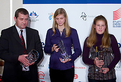Boris Salomon, Sara Strajnar and Spela Hus at Best Slovenian athlete of the year ceremony, on November 15, 2008 in Hotel Lev, Ljubljana, Slovenia. (Photo by Vid Ponikvar / Sportida)