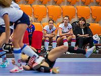 ROTTERDAM -  manager Astrid Kersseboom (SCHC)) dames Amsterdam-SCHC.   ,hoofdklasse competitie  zaalhockey.   COPYRIGHT  KOEN SUYK