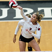 18 November 2017:  The San Diego State women's volleyball team closes out it's season against #24 Colorado State University. San Diego State outside hitter Hannah Turnlund (7) spikes the ball during the first set against CSU. The Aztecs fell to the Rams in three sets. <br /> www.sdsuaztecphotos.com