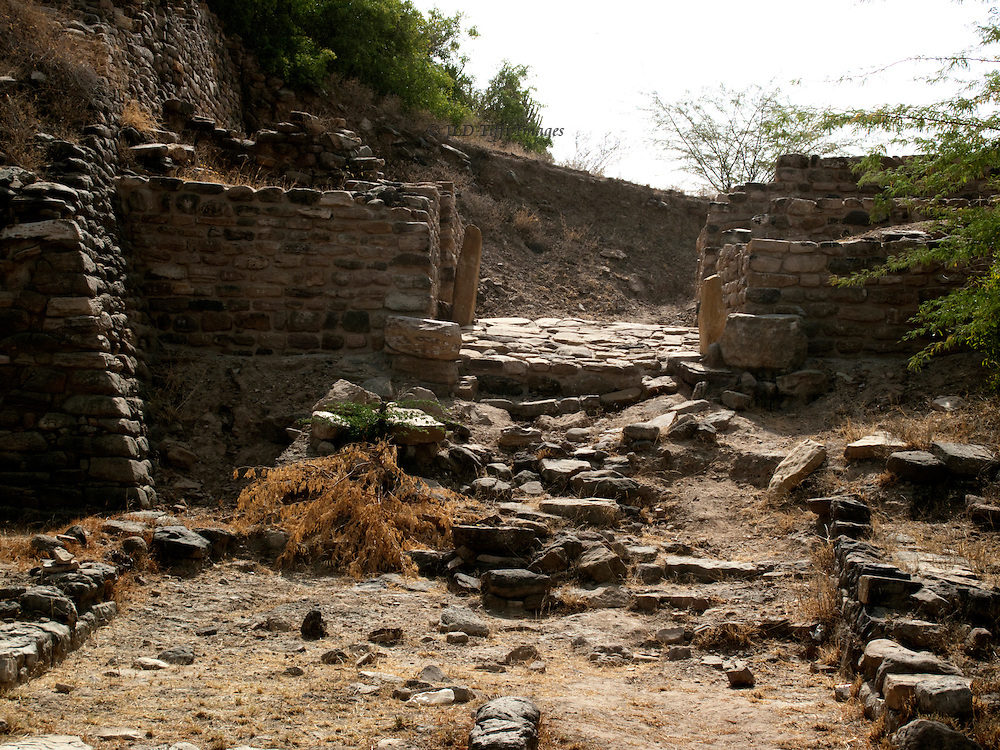 Crumbled city gate at the Harappan city of Dholavira, Gujarat, India.