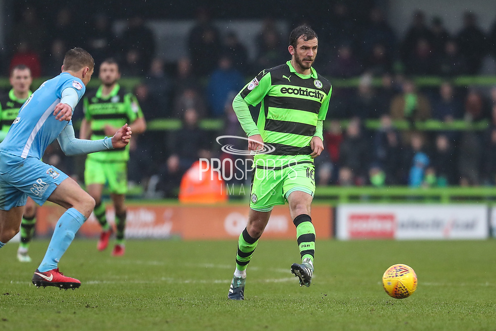 Forest Green Rovers Gavin Gunning(16) passes the ball during the EFL Sky Bet League 2 match between Forest Green Rovers and Coventry City at the New Lawn, Forest Green, United Kingdom on 3 February 2018. Picture by Shane Healey.