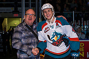 KELOWNA, CANADA - MARCH 22:  Macdermotts presentation to Gordie Ballhorn #4 of the Kelowna Rockets at the Kelowna Rockets game on March 22, 2018 at Prospera Place in Kelowna, British Columbia, Canada.  (Photo By Cindy Rogers/Nyasa Photography,  *** Local Caption ***