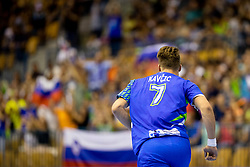Miha Kavcic of Slovenia during handball match between National teams of Portugal and Slovenia in Semifinal of 2018 EHF U20 Men's European Championship, on July 27, 2018 in Arena Zlatorog, Celje, Slovenia. Photo by Urban Urbanc / Sportida
