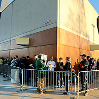 Shoppers line up around the building at Best Buy in Tupelo hoping have first chance at the early Black Friday deals on Thursday afternoon.
