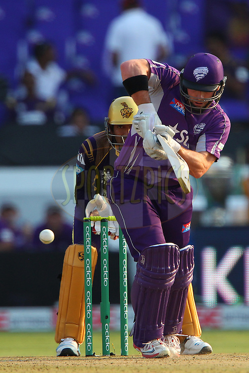 Travis BIRT of the Hobart Hurricanes  during the first semi final match of the Oppo Champions League Twenty20 between the Kolkata Knight Riders and the Hobart Hurricanes held at the Rajiv Gandhi Cricket Stadium, Hyderabad, India on the 2nd October 2014<br /> <br /> Photo by:  Ron Gaunt / Sportzpics/ CLT20<br /> <br /> <br /> Image use is subject to the terms and conditions as laid out by the BCCI/ CLT20.  The terms and conditions can be downloaded here:<br /> <br /> http://sportzpics.photoshelter.com/gallery/CLT20-Image-Terms-and-Conditions-2014/G0000IfNJn535VPU/C0000QhhKadWcjYs