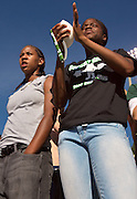 07-18418.Photo by Kevin Riddell.Catherine Cain, left, and Carolyn Barett cheer on the Bobcats in Peden Stadium on Saturday, September 29, 2007.