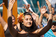 Aboard the Rhapsody of the Seas, on a cruise from Vancouver to Hawaii. Pool Deck. Spirit of Polynesia Performance and Hula lesson for passengers.