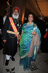 HH SHRIJI ARVIND SINGHJI MEWAR OF UDAIPUR and RANI NINA SINGH OF KAPURTHALA at a dinner to celebrate the opening of 'Maharaja - The Spendour of India's Royal Courts' an exhbition at the V&A, London on 6th October 2009.