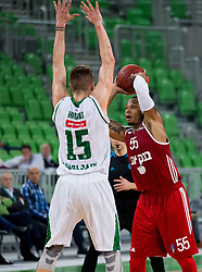 Gregor Hrovat #15 of KK Union Olimpija vs Curtis Jerrells of Hapoel during basketball match between KK Union Olimpija Ljubljana (SLO) and Hapoel Jerusalem (ISR) in Round #4 of 7Days EuroCup 2016/17, on October 26, 2016 in Arena Stozice, Ljubljana, Slovenia. Photo by Vid Ponikvar / Sportida