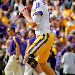 November 25, 2011; Baton Rouge, LA, USA; LSU Tigers quarterback Zach Mettenberger (8) against the Arkansas Razorbacks prior to kickoff of a game at Tiger Stadium. LSU defeated Arkansas 41-17. Mandatory Credit: Derick E. Hingle-US PRESSWIRE