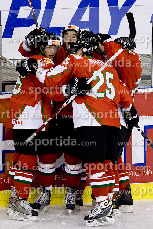 Players of Hungary celebrate at IIHF Ice-hockey World Championships Division I Group B match between National teams of Hungary and Poland, on April 18, 2010, in Tivoli hall, Ljubljana, Slovenia.  (Photo by Vid Ponikvar / Sportida)