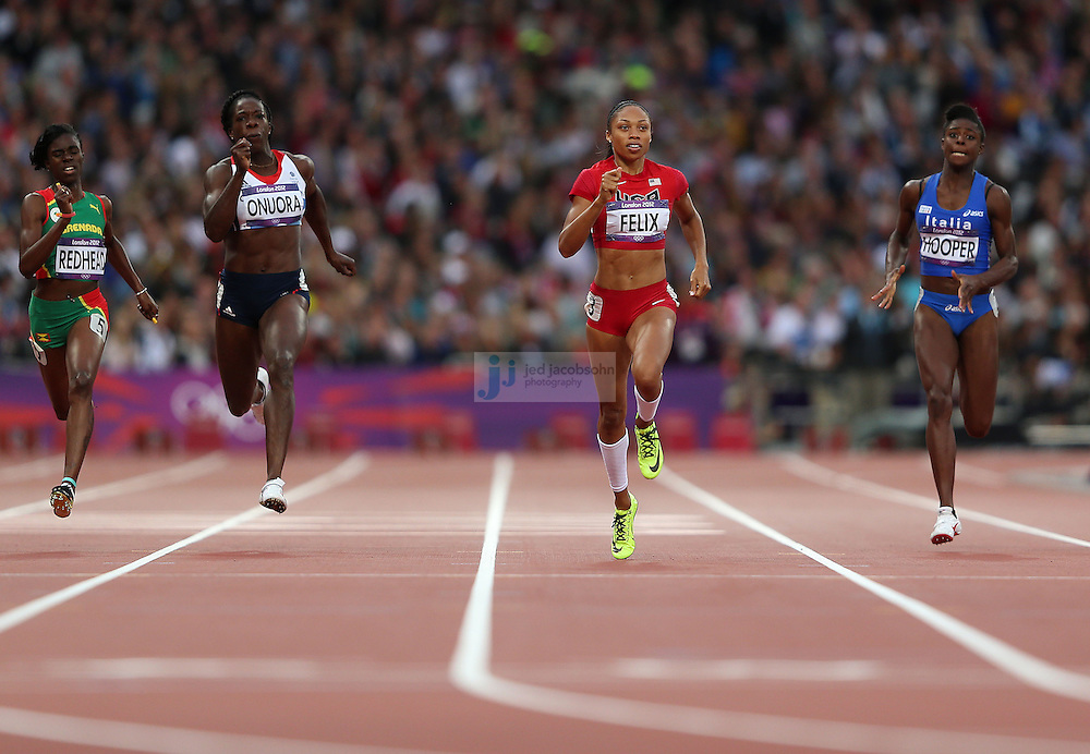 Allyson Felix of the USA competes in a 200m heat during track and field at the Olympic Stadium during day 10 of the London Olympic Games in London, England, United Kingdom on August 3, 2012..(Jed Jacobsohn/for The New York Times)..