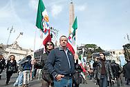2013/03/23 Roma, manifestazione del PDL Popolo della Liberta'. Nella foto due manifestanti con le bandiere monarchiche.<br /> Rome, Popolo della Liberta' (reading The Peolple of Freedom Party) demo. In the picture some supporters with monarchist flags  - &copy; PIERPAOLO SCAVUZZO