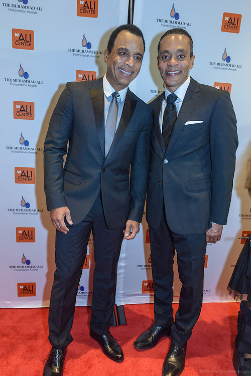 Multi-Grammy Award-winner Jon Secada and Donald Lassere, President and CEO of the Muhammad Ali Center, on the red carpet at the fourth annual Muhammad Ali Humanitarian Awards Saturday, Sept. 17, 2016 at the Marriott Hotel in Louisville, Ky. (Photo by Brian Bohannon for the Muhammad Ali Center)