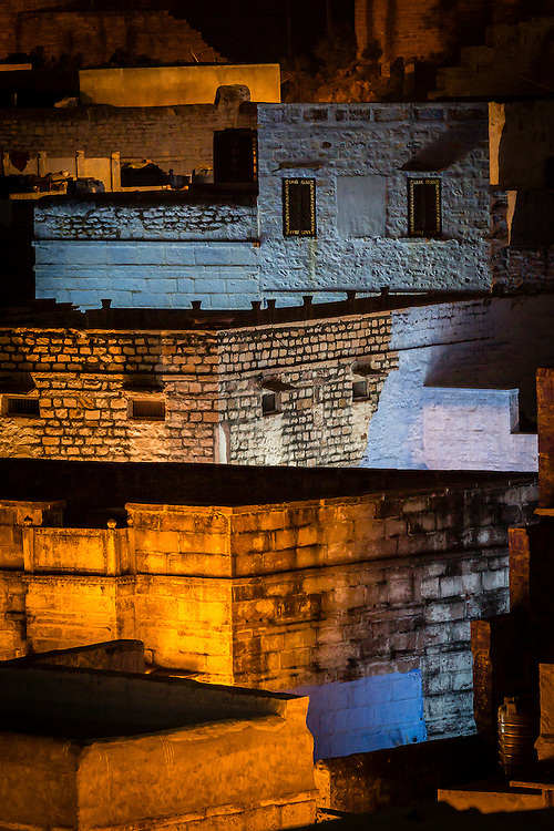 As evening falls and the lights do on in Jodhpur, the old part of town can become a maze of shapes and colors.