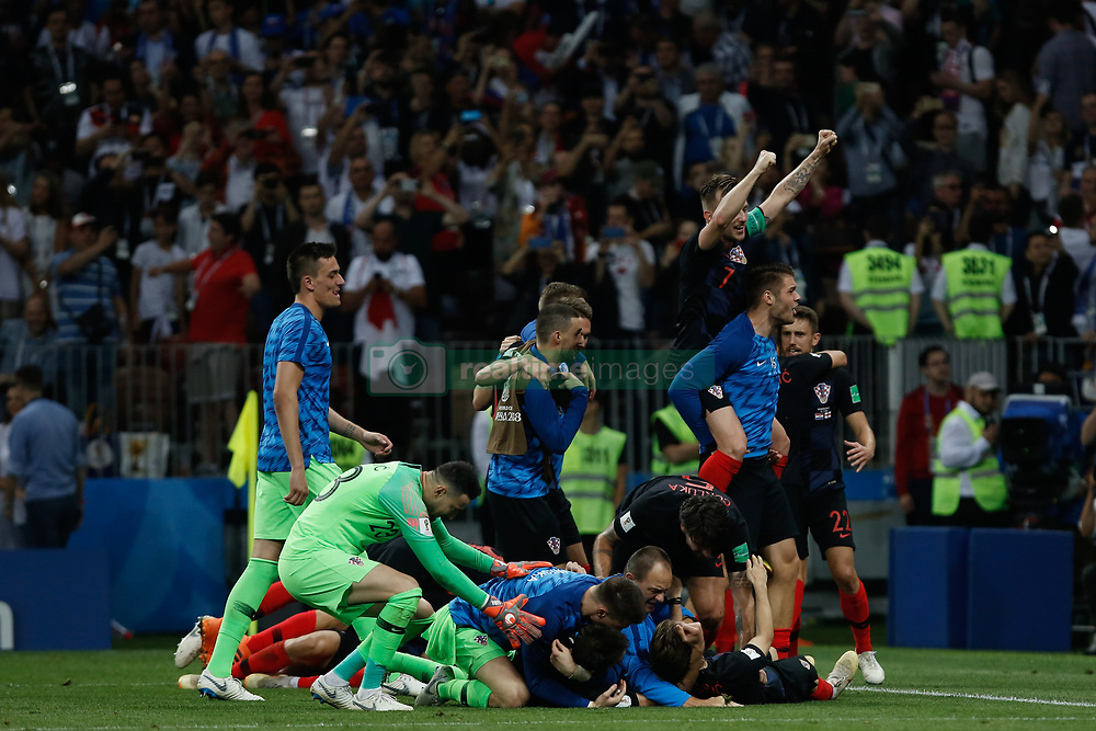 July 11, 2018 - Moscow, Vazio, Russia - Domagoj Vida of Croatia celebrate qualifying after match between England and Croatia valid for the semi final of the 2018 World Cup, held at the Lujniki Stadium in Moscow in Russia .Croatia wins 2-1. (Credit Image: © Thiago Bernardes/Pacific Press via ZUMA Wire)