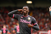 Leeds United forward Edward Nketiah (14), on loan from Arsenal, scores a goal and celebrates to make the score 0-1 during the EFL Sky Bet Championship match between Barnsley and Leeds United at Oakwell, Barnsley, England on 15 September 2019.