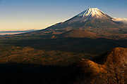 Photo shows Mt Fuji viewed from near Lake Shoji in Fujikawaguchiko Town, Yamanashi Prefecture Japan.  Photographer: Robert Gilhooly