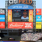 Advertising at Citi Field during the New York Mets V San Francisco Giants Baseball game at Citi Field, Queens, New York. 21st April 2012. Photo Tim Clayton