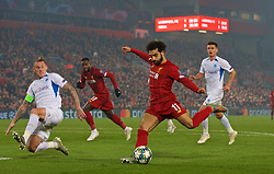 LIVERPOOL, Nov. 6, 2019  Liverpool's Mohamed Salah (2nd R) shoots during the UEFA Champions League Group E match soccer between Liverpool FC and KRC Genk at Anfield in Liverpool, Britain on Nov. 5, 2019.  FOR EDITORIAL USE ONLY. NOT FOR SALE FOR MARKETING OR ADVERTISING CAMPAIGNS. NO USE WITH UNAUTHORIZED AUDIO, VIDEO, DATA, FIXTURE LISTS, CLUB/LEAGUE LOGOS OR ''LIVE'' SERVICES. ONLINE IN-MATCH USE LIMITED TO 45 IMAGES, NO VIDEO EMULATION. NO USE IN BETTING, GAMES OR SINGLE CLUB/LEAGUE/PLAYER PUBLICATIONS. (Credit Image: © Han Yan/Xinhua via ZUMA Wire)