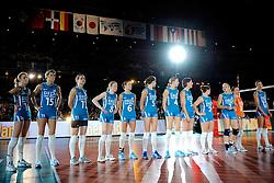 21-08-2009 VOLLEYBAL: WGP FINALS JAPAN - NEDERLAND: TOKYO<br /> Japan wint met 3-0 van Nederland / Line up met oa. Debby Stam, Ingrid Visser, Caroline Wensink, Alice Blom, Maret Grothues, Kim Staelens en Manon Flier<br /> ©2009-WWW.FOTOHOOGENDOORN.NL